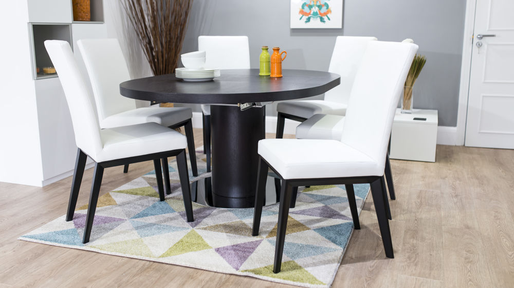 Modern White Dining Chairs and Wenge Dining Table