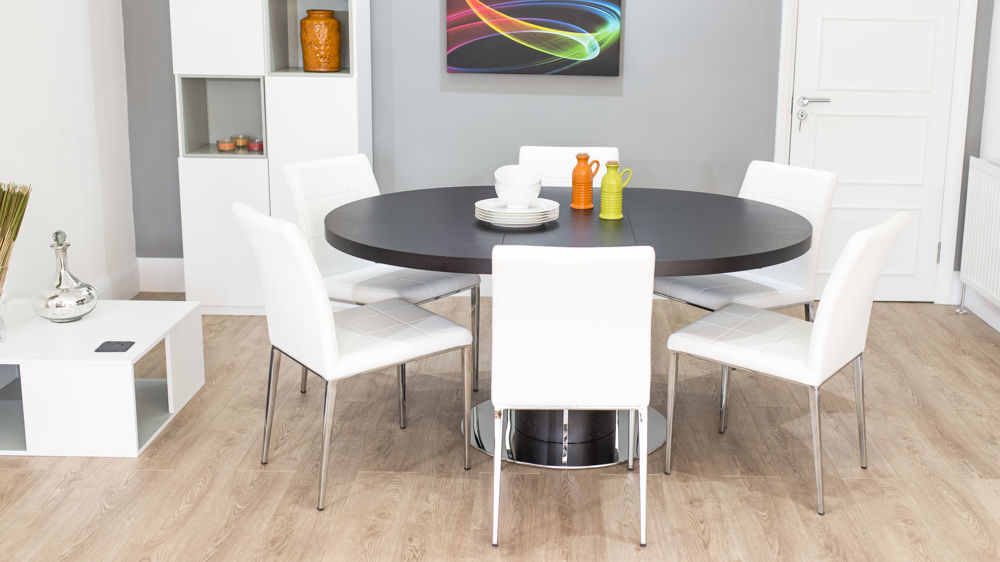 Wenge Round Extending Dining Set and White Dining Chairs