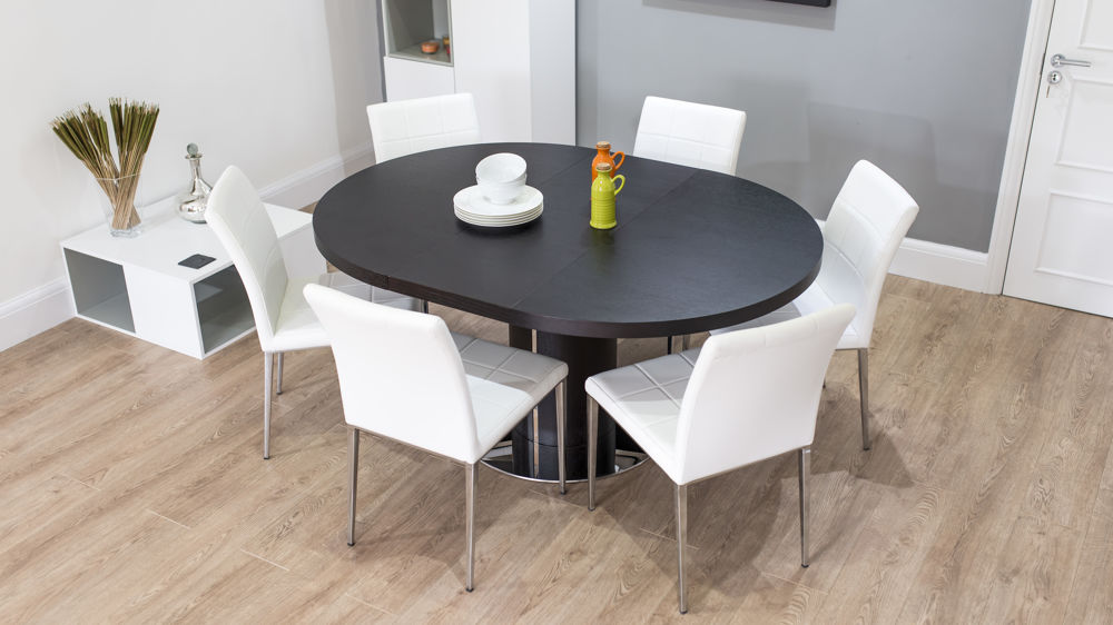 Modern Large Oval Dark Wood And White Extending Dining Set