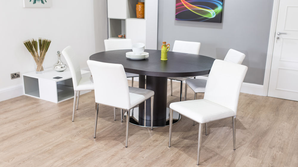 Comfortable Dining Chairs and Oval Dark Extending Dining Table