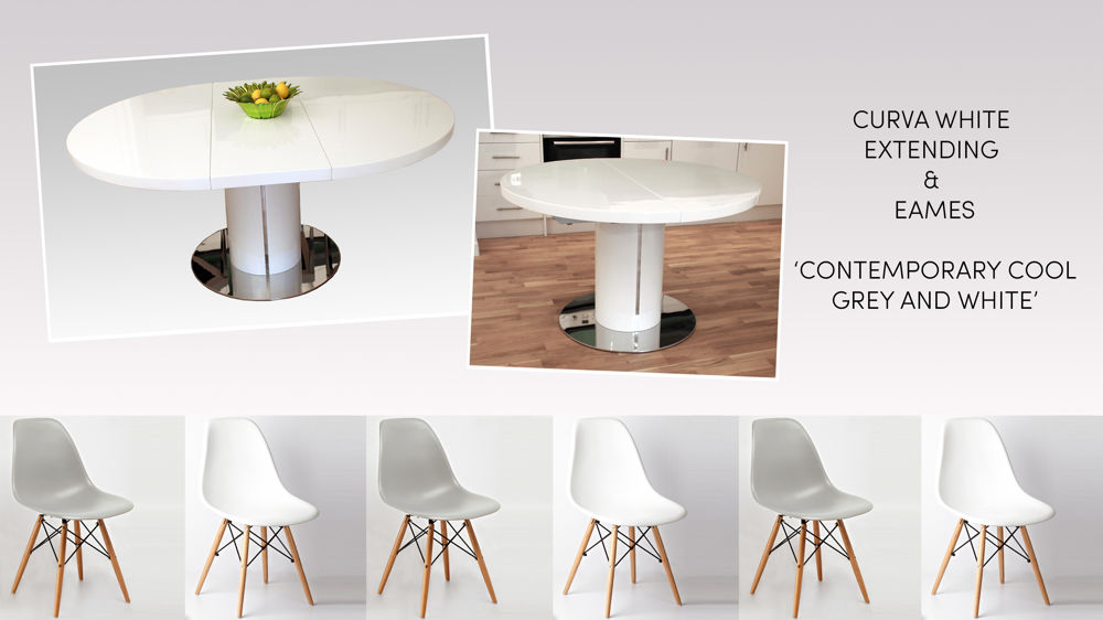 Round White Gloss Extending Dining Set With Eames Style Chairs