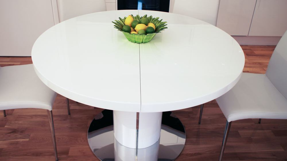 Modern Round White Gloss and Chrome Extending Dining Table