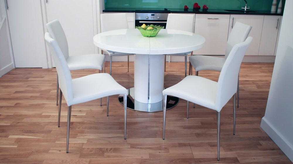 Modern Round White Dining Table and Chairs