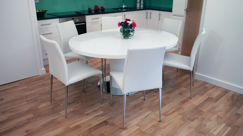 Contemporary Round White Dining Table and Chairs