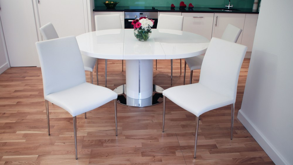 Leather Dining Chairs and White Gloss Extending Dining Table