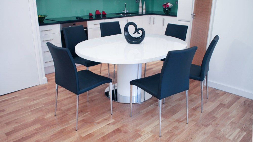 Easy Extending Round White Gloss Dining Table and Leather Dining Chairs