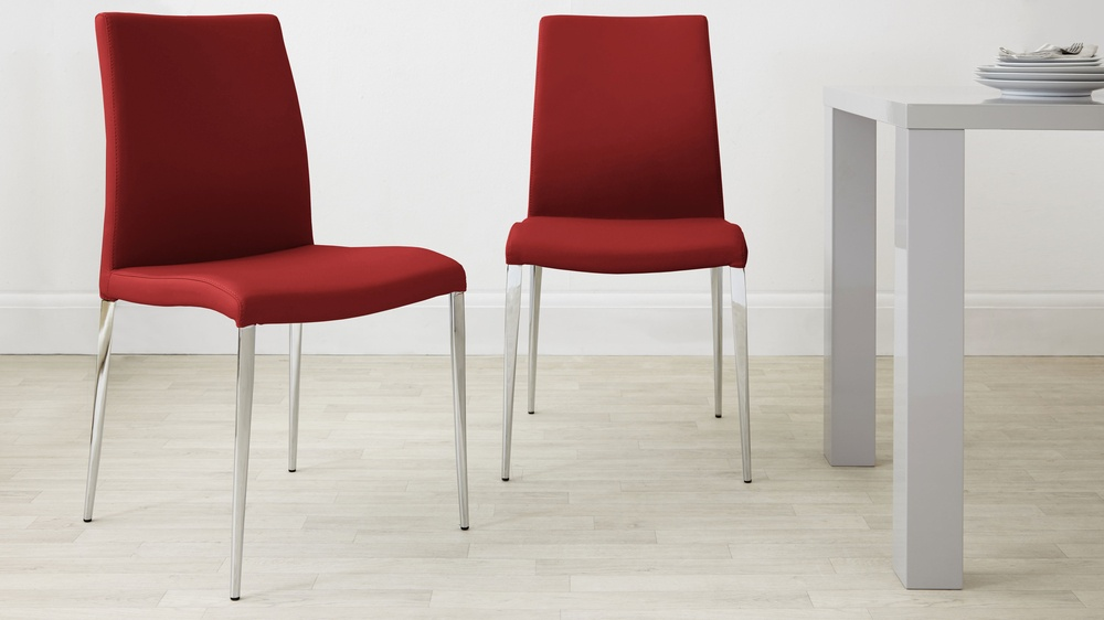 Bright Red Dining Chairs with Chrome Legs