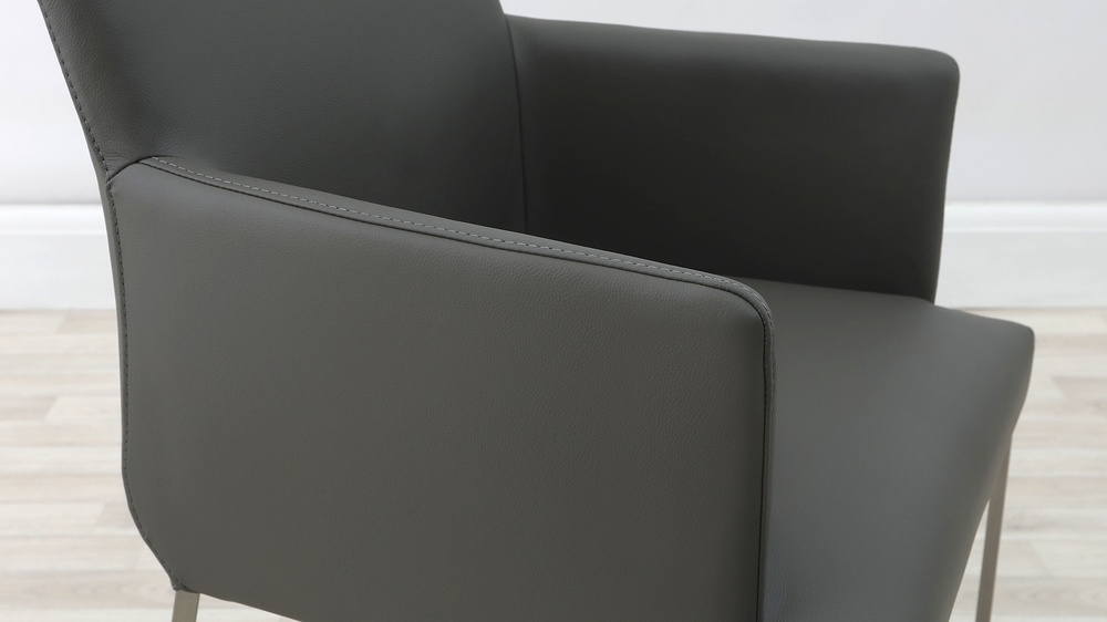 Modern Grey Leather Dining Chairs