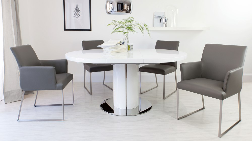 Single Extending White Gloss Dining Table and Grey Dining Chairs