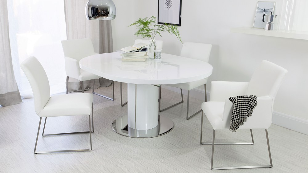 Modern White Gloss and Real Leather Extending Dining Set