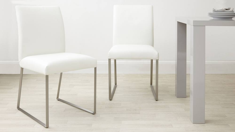 Modern White Real Leather Dining Chairs