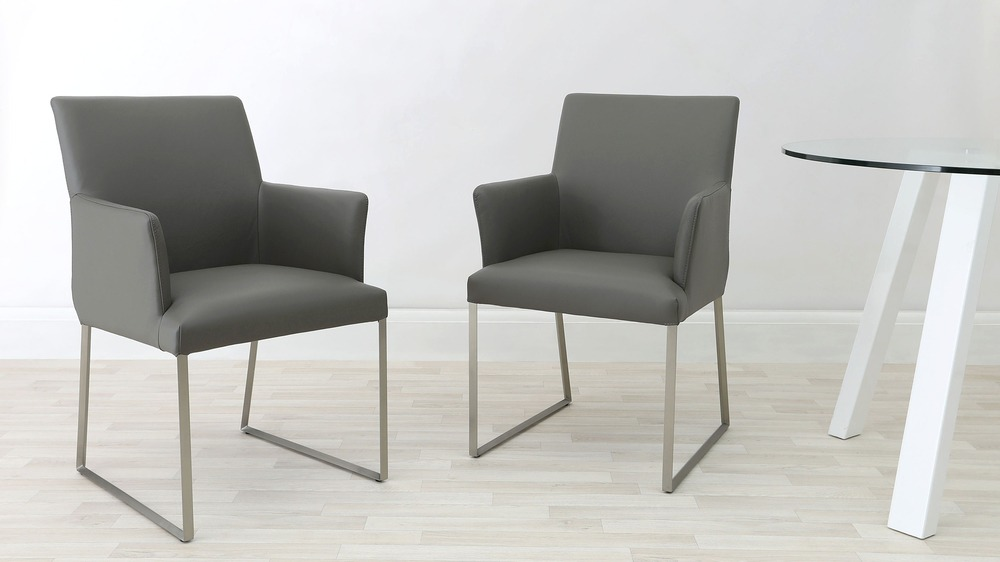 Grey Real Leather Arm Chairs
