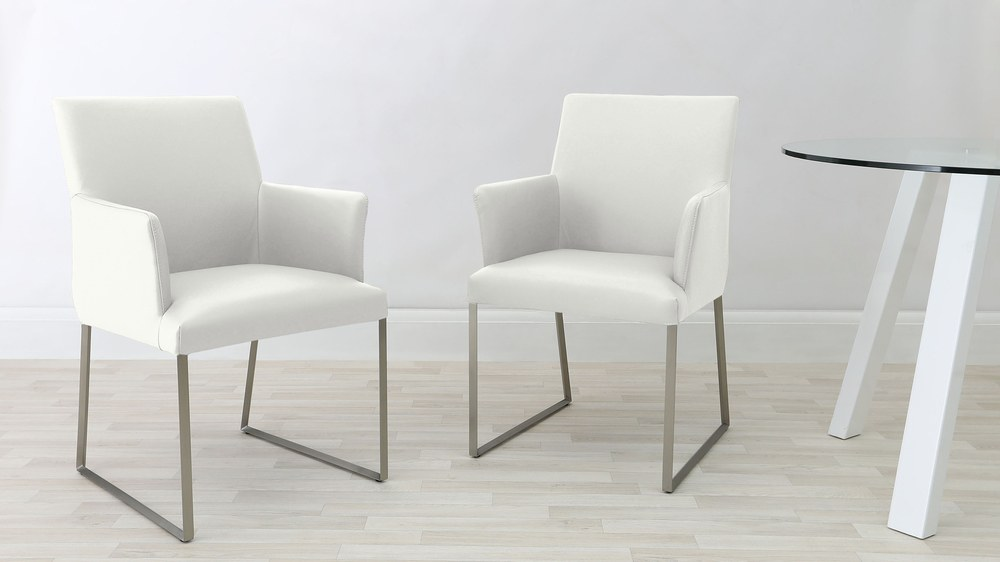 Comfortable White Real Leather Dining Chairs