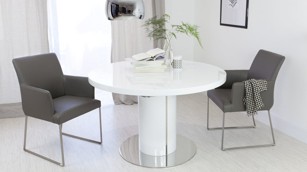 Round White Gloss Extending Dining Table and Real Leather Dining Chairs