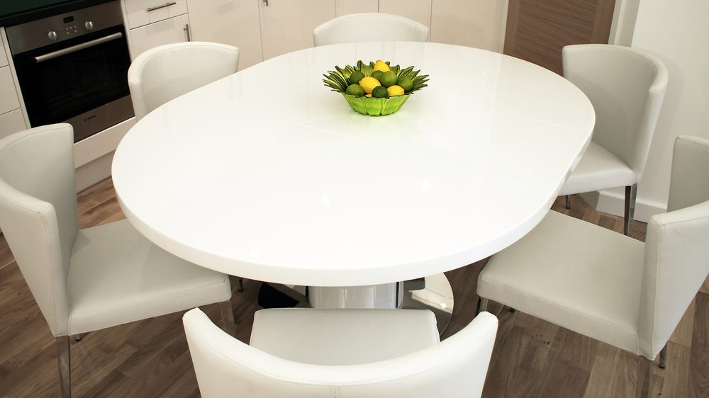 Modern Round White Gloss Extending Dining Table and Chairs  : curva white gloss extending dining set 11 from www.danetti.com size 1000 x 562 jpeg 53kB