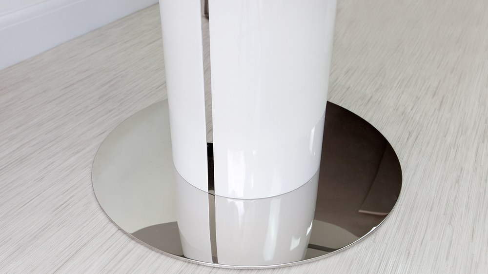 White and Chrome Round Dining Table