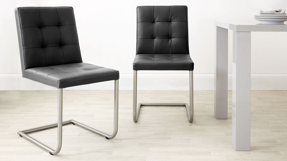 Black Real Leather Cantilever Dining Chairs