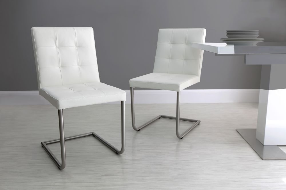 Cool grey modern leather dining chair
