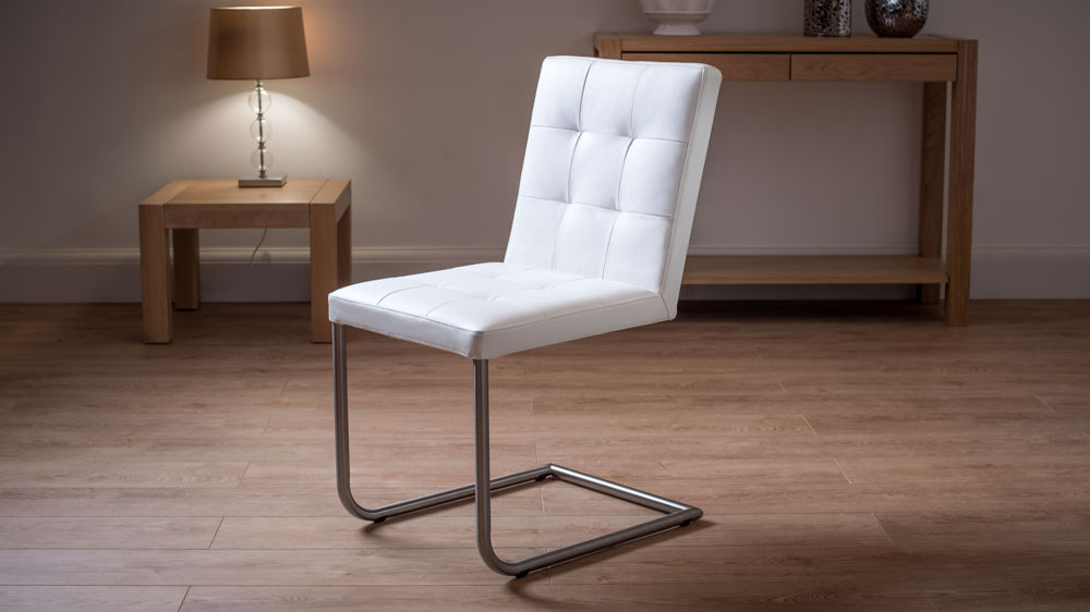 Quilted Real Leather Dining Chairs In White