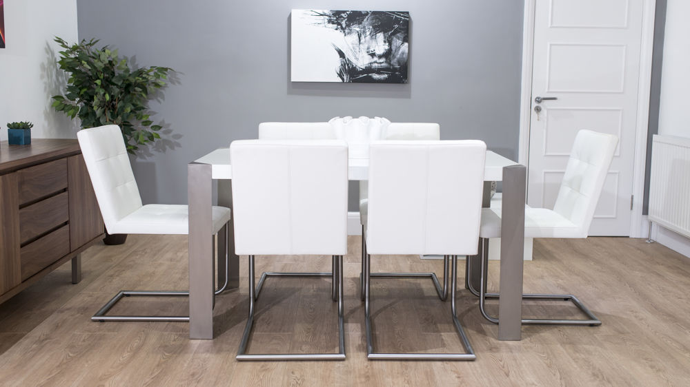 Stylish Cantilever White Dining Chairs And Gloss Table Leather
