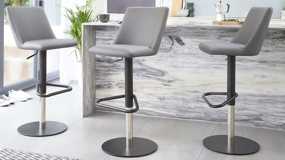 Dark grey faux leather modern bar stools
