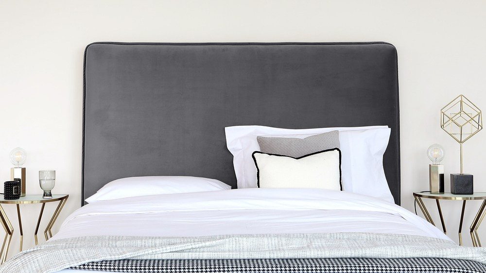 Darcy Pepper Grey Velvet King Size Bed