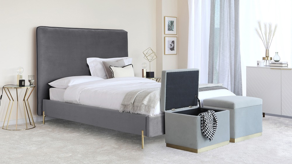 grey velvet storage bed