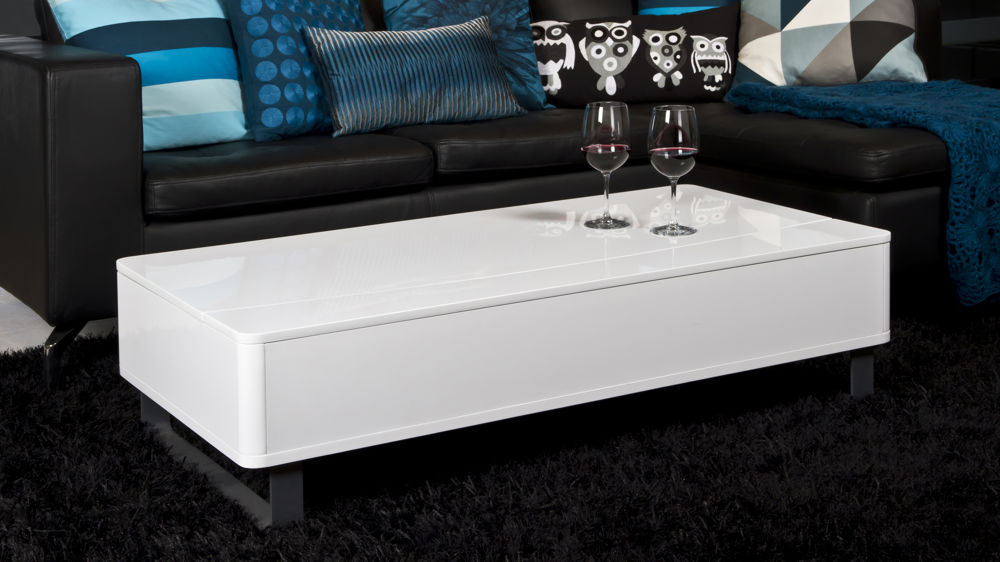 Modern White Gloss Rectangle Coffee Table UK