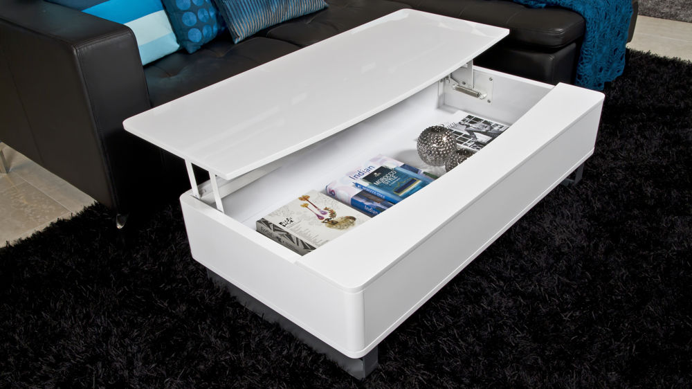 Exceptional White Coffee Table With Large Storage