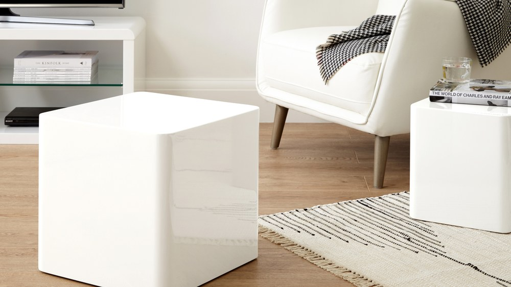 Dice White Gloss Side Tables Danetti