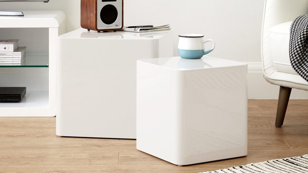 white gloss square side tables