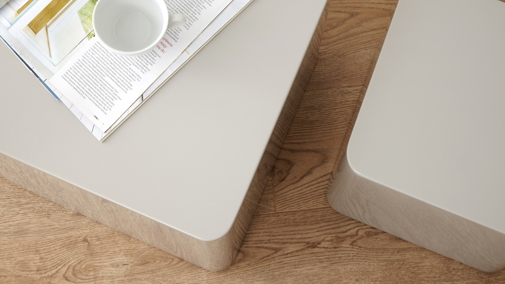 Contemporary Dice Side Tables White High Gloss Nesting