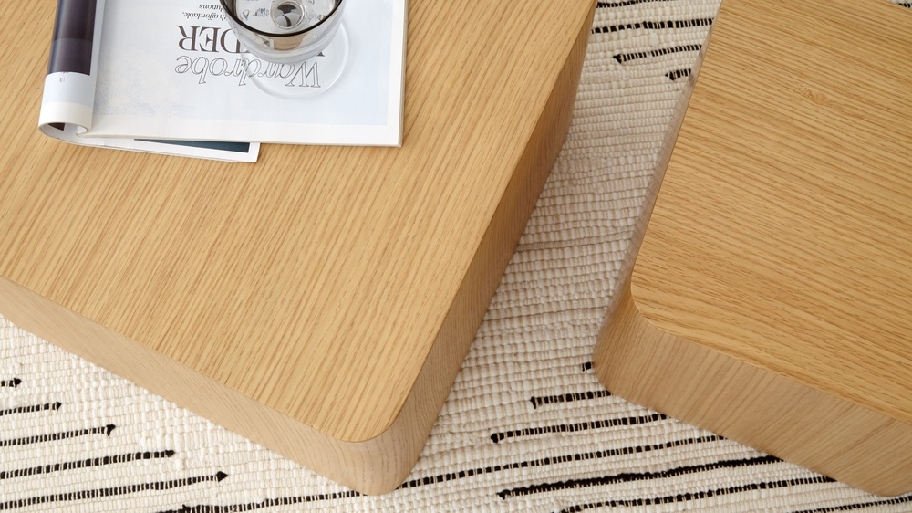 square oak side tables