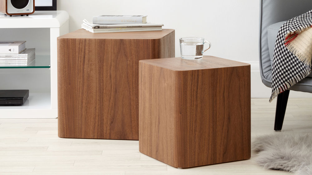 Walnut Dice Side Tables Set Of 2 Side Tables Uk Delivery