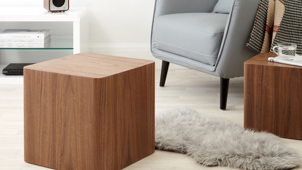 Walnut dice side tables set of 2 side tables uk delivery walnut side tables aloadofball Gallery