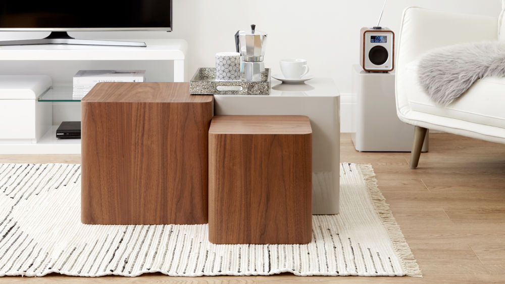 Modern walnut side tables for small spaces