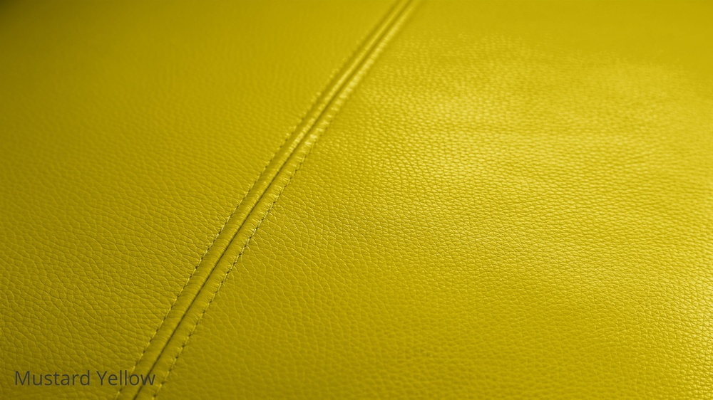 Mustard yellow leather sofa