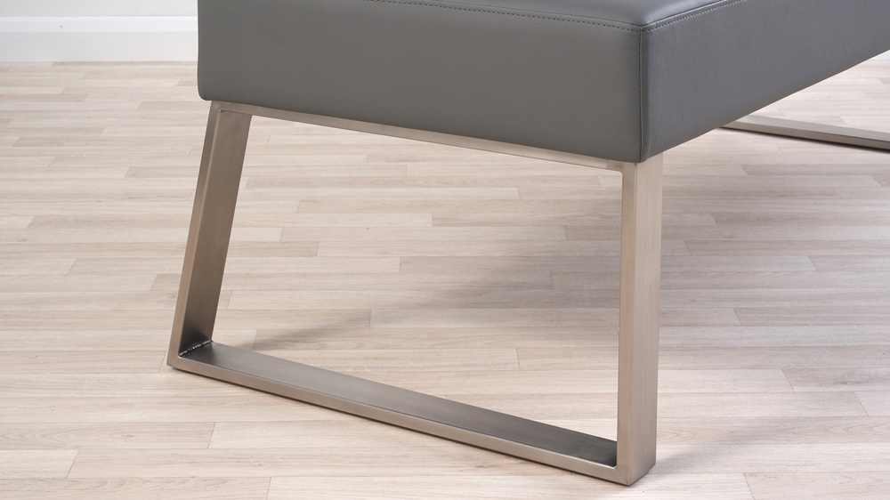 Brushed stainless steel leg dining bench