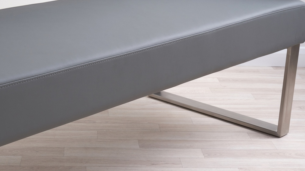 Stainless steel faux leather bench