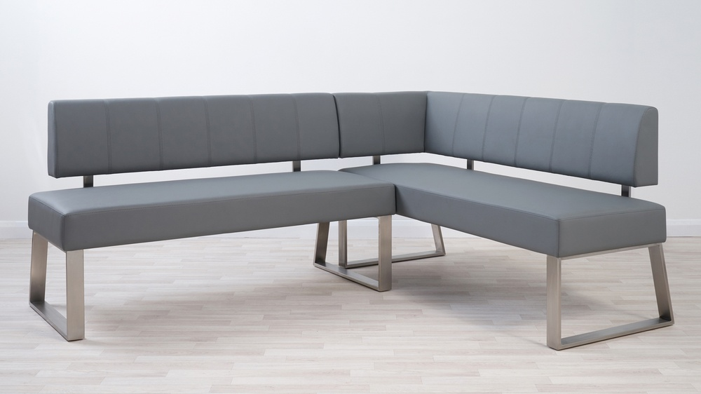 Dark grey real leather corner benches