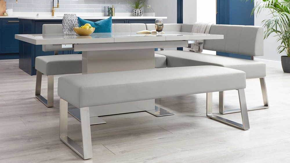 Large light grey corner bench for kitchen
