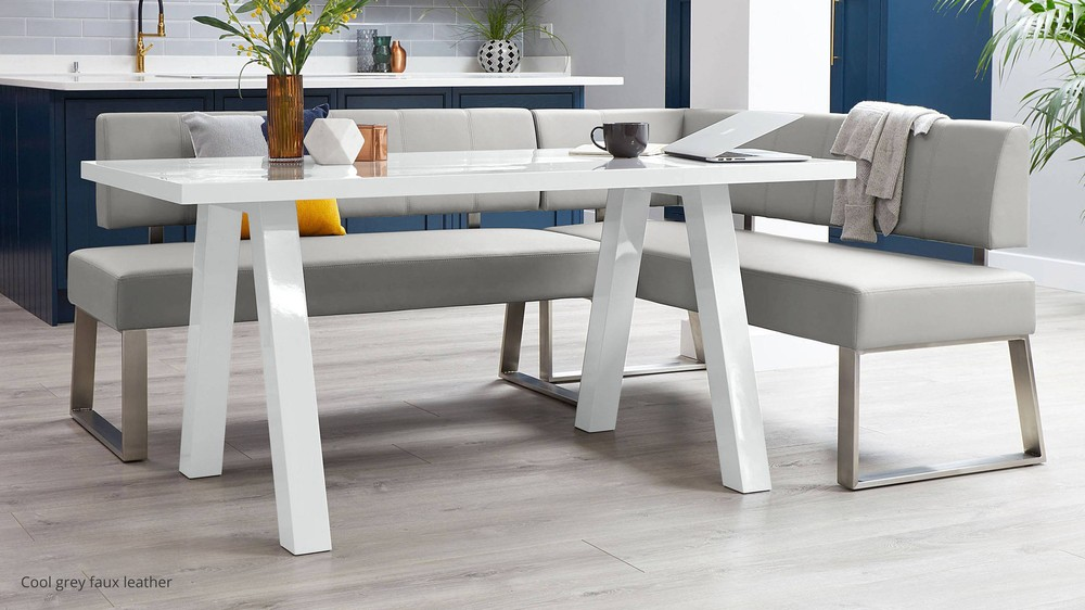 Light grey left hand benches for kitchen