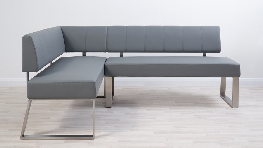 Faux leather grey dining bench with backrest