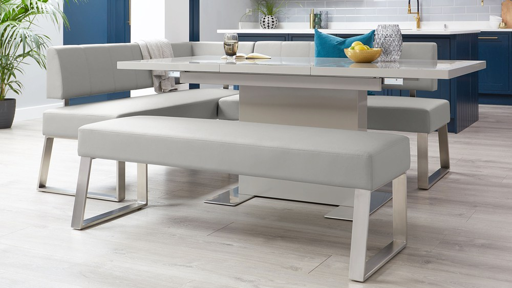 Modern light grey corner benches