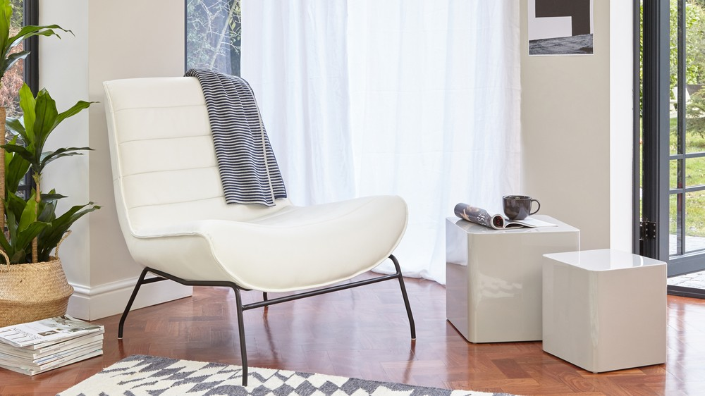 modern white leather armchair