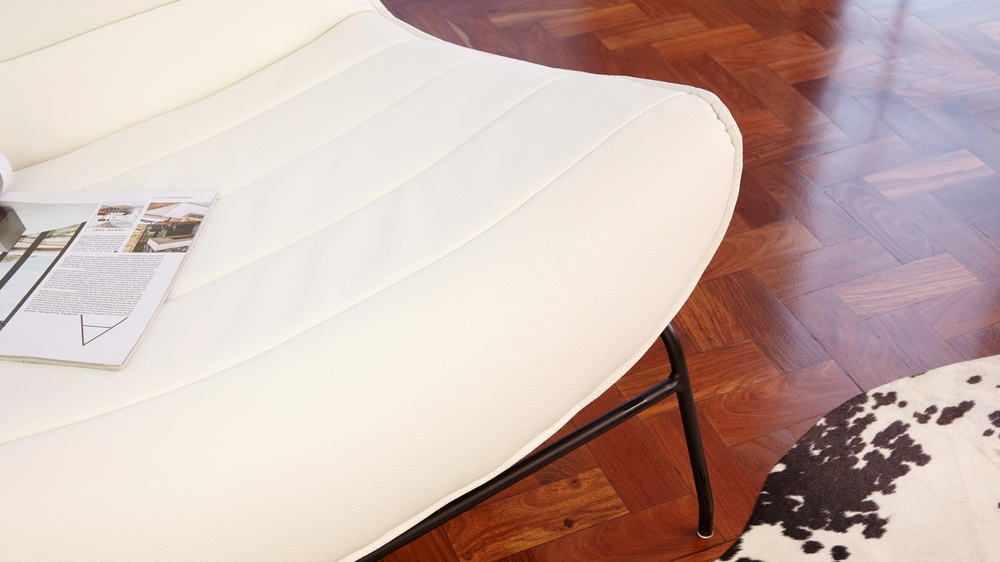 quality white leather armchair
