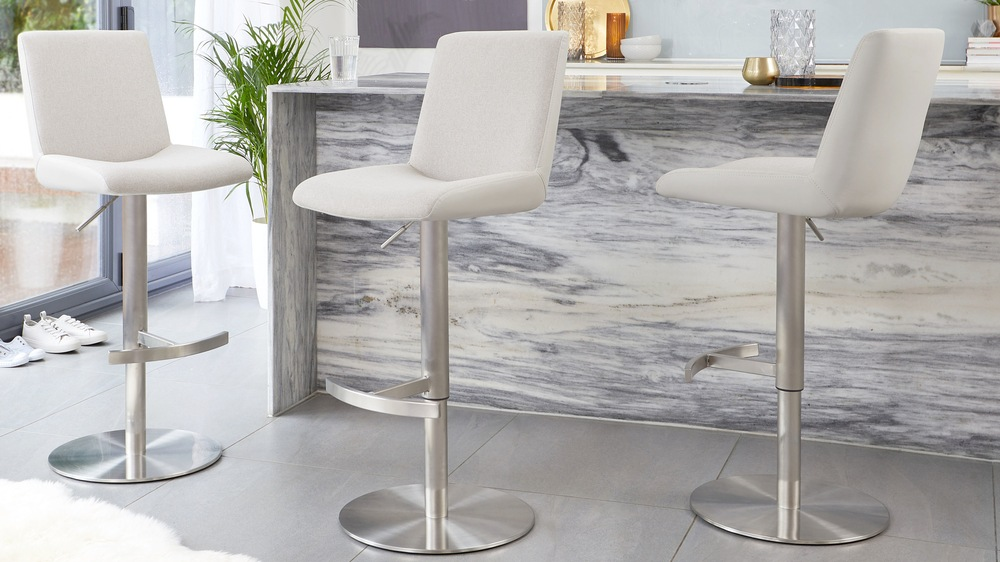 Light grey fabric bar stools
