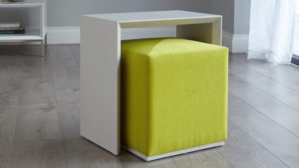 modern grey ottoman and table