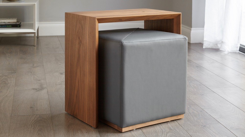 Multi purpose side table with pouf
