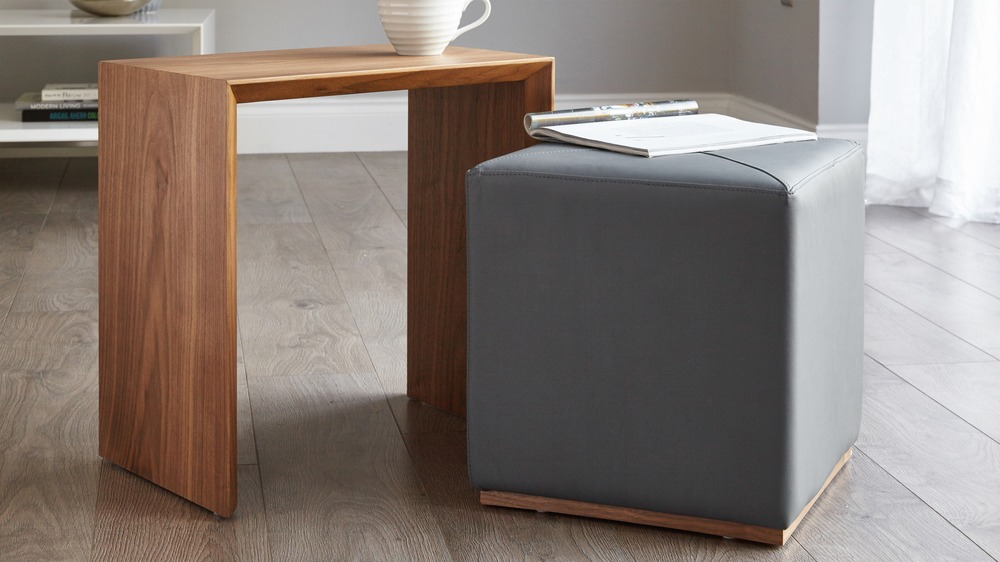 Multi purpose side table with footstool